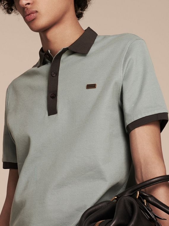 Eucalyptus green/charcoal Mercerised Cotton Piqué Polo Shirt Eucalyptus Green/charcoal - cell image 3