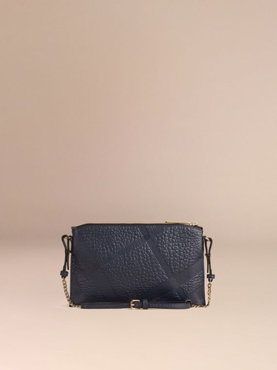 Blue carbon Check-embossed Leather Clutch Bag Blue Carbon - cell image 3
