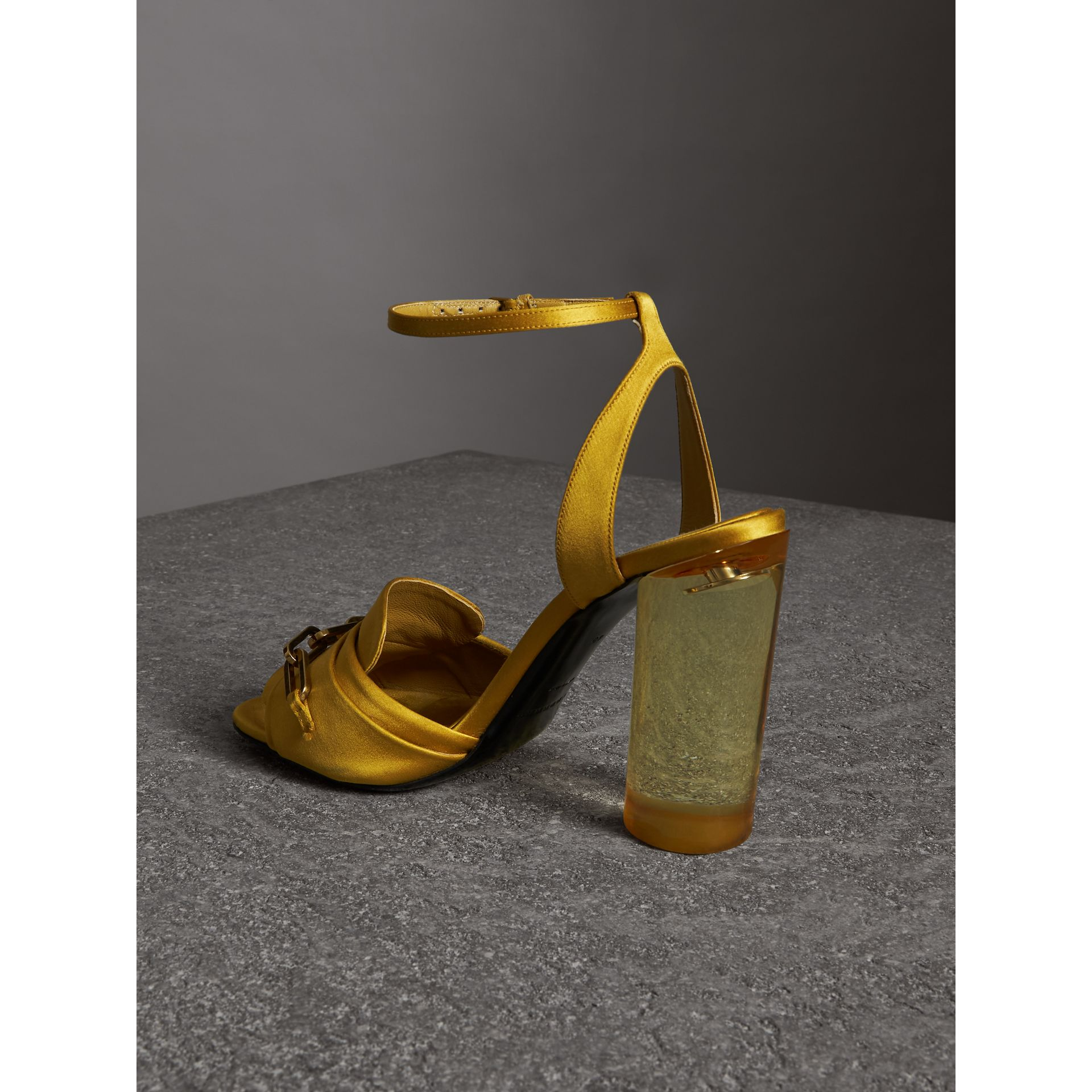 Link Detail Perspex Heel Satin Sandals in Antique Yellow - Women | Burberry Canada - gallery image 3