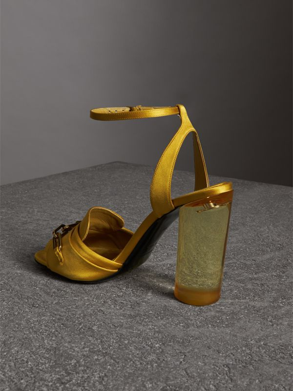 Link Detail Perspex Heel Satin Sandals in Antique Yellow - Women | Burberry - cell image 3