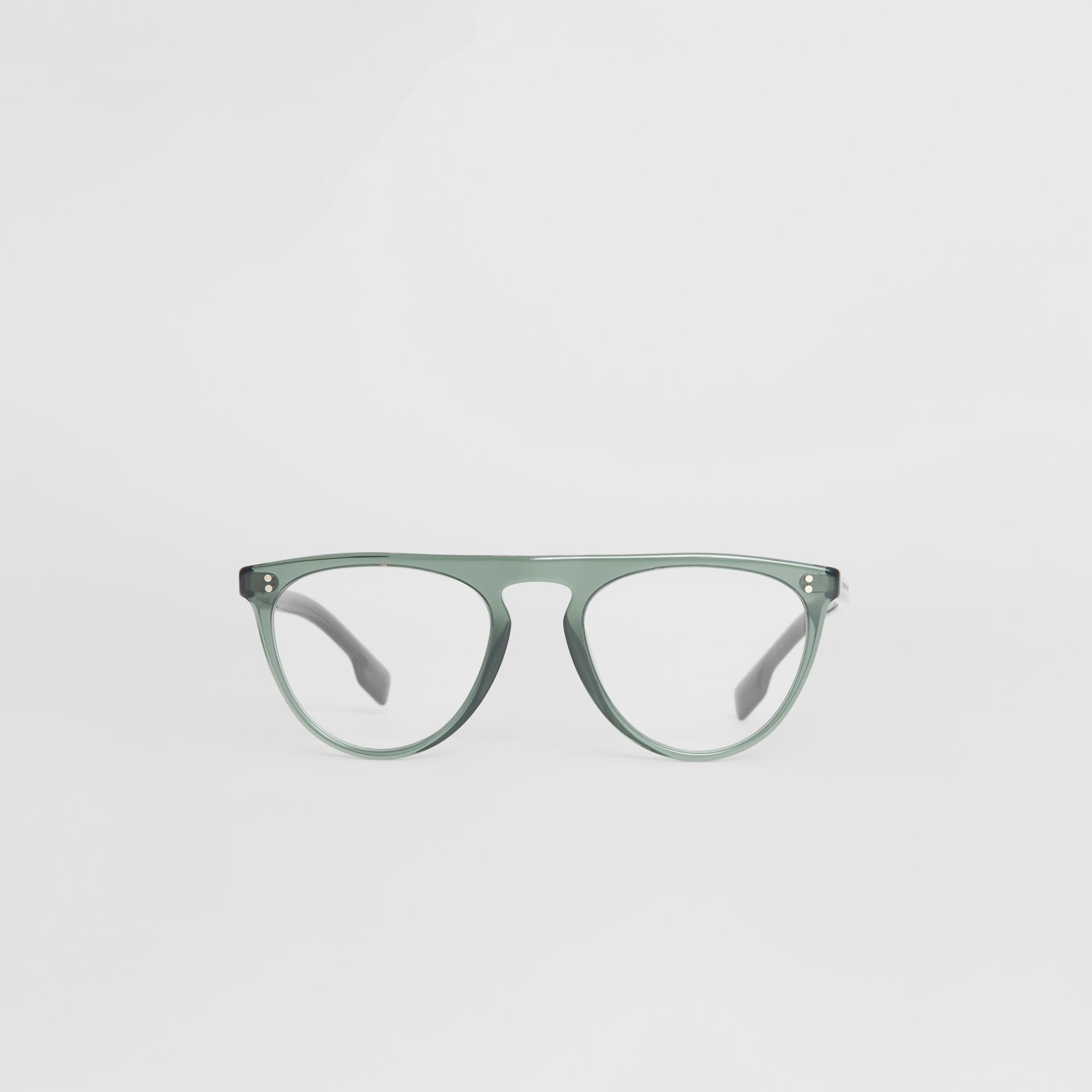 Keyhole D-shaped Optical Frames in Green - Men | Burberry United Kingdom - gallery image 0
