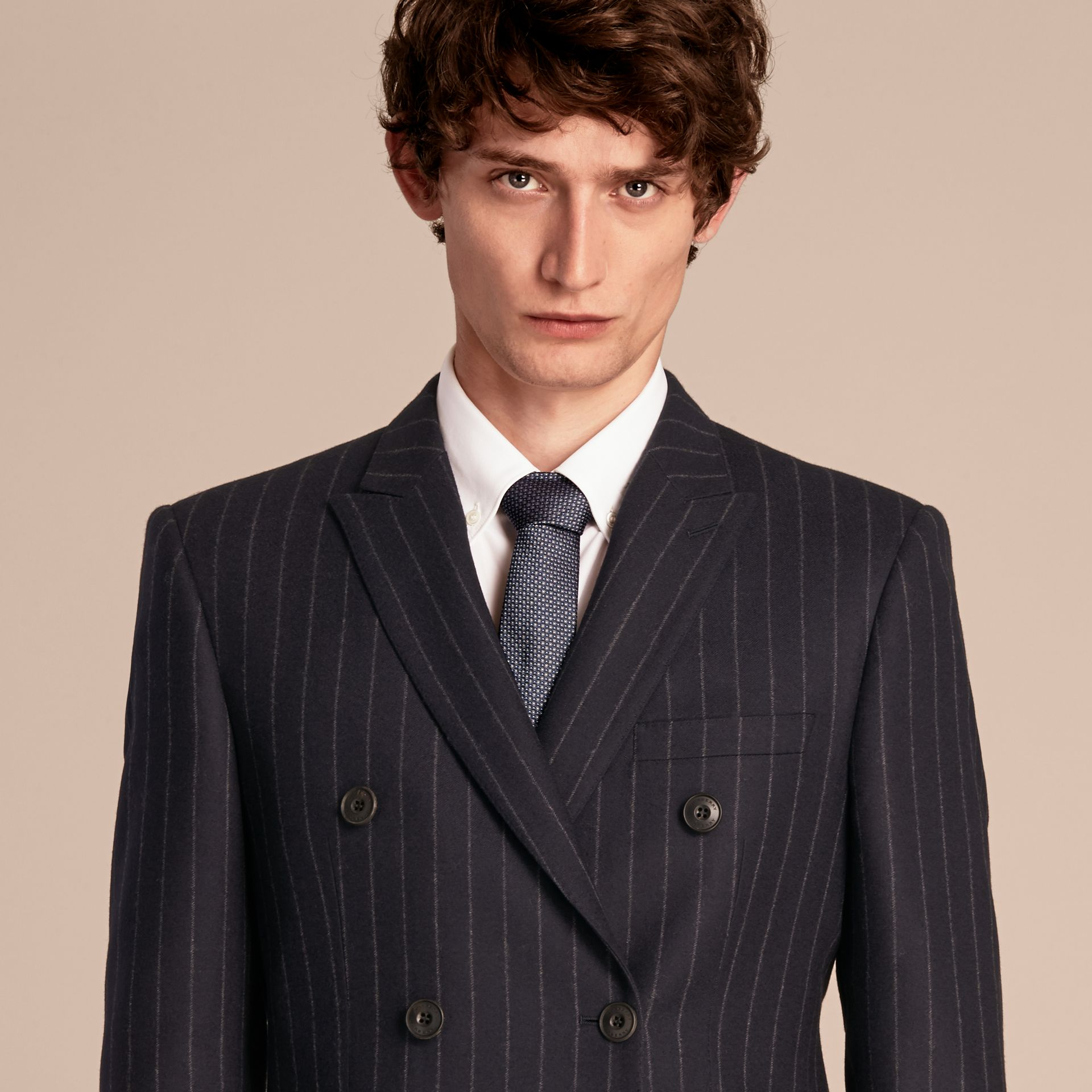 Navy Slim Fit Double-breasted Pinstripe Wool Suit - gallery image 7