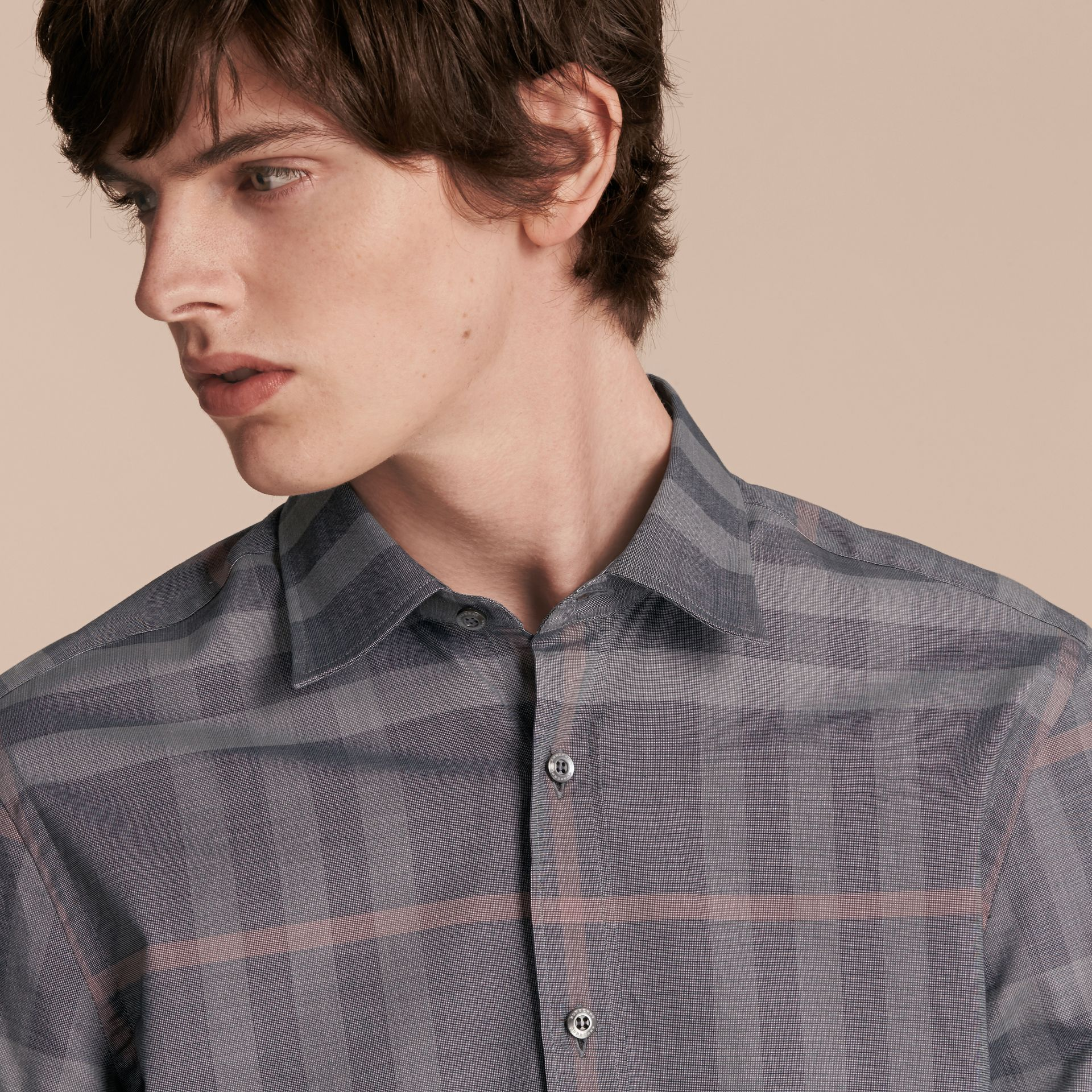 Check Cotton Oxford Shirt Dark Charcoal - gallery image 5