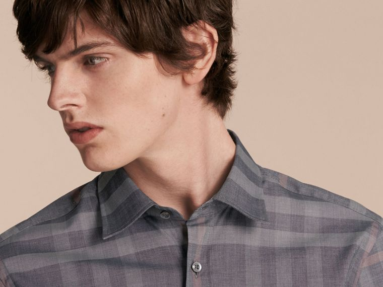 Check Cotton Oxford Shirt Dark Charcoal - cell image 4