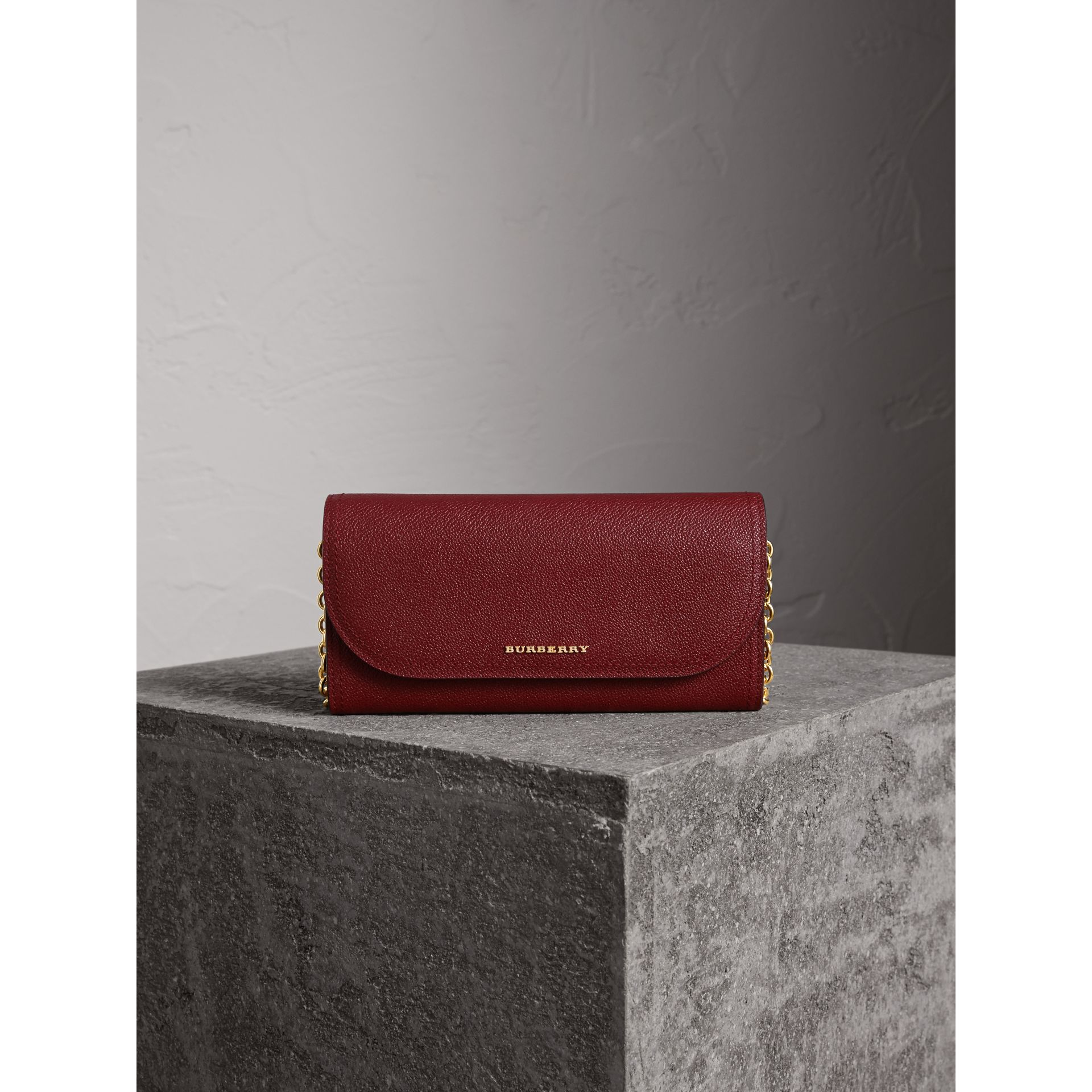 Leather Wallet with Chain in Burgundy - Women | Burberry - gallery image 3