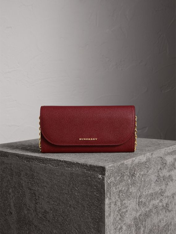 Leather Wallet with Chain in Burgundy - Women | Burberry Australia - cell image 2