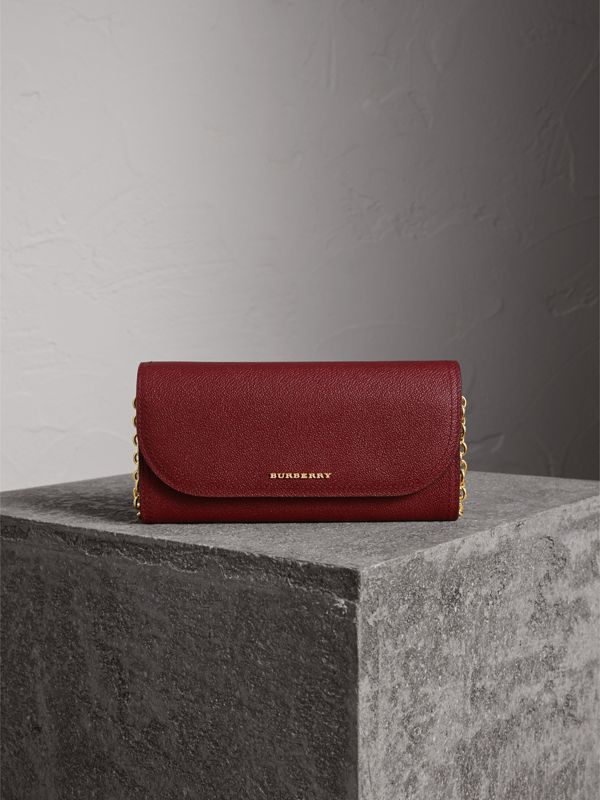 Leather Wallet with Chain in Burgundy - Women | Burberry - cell image 2