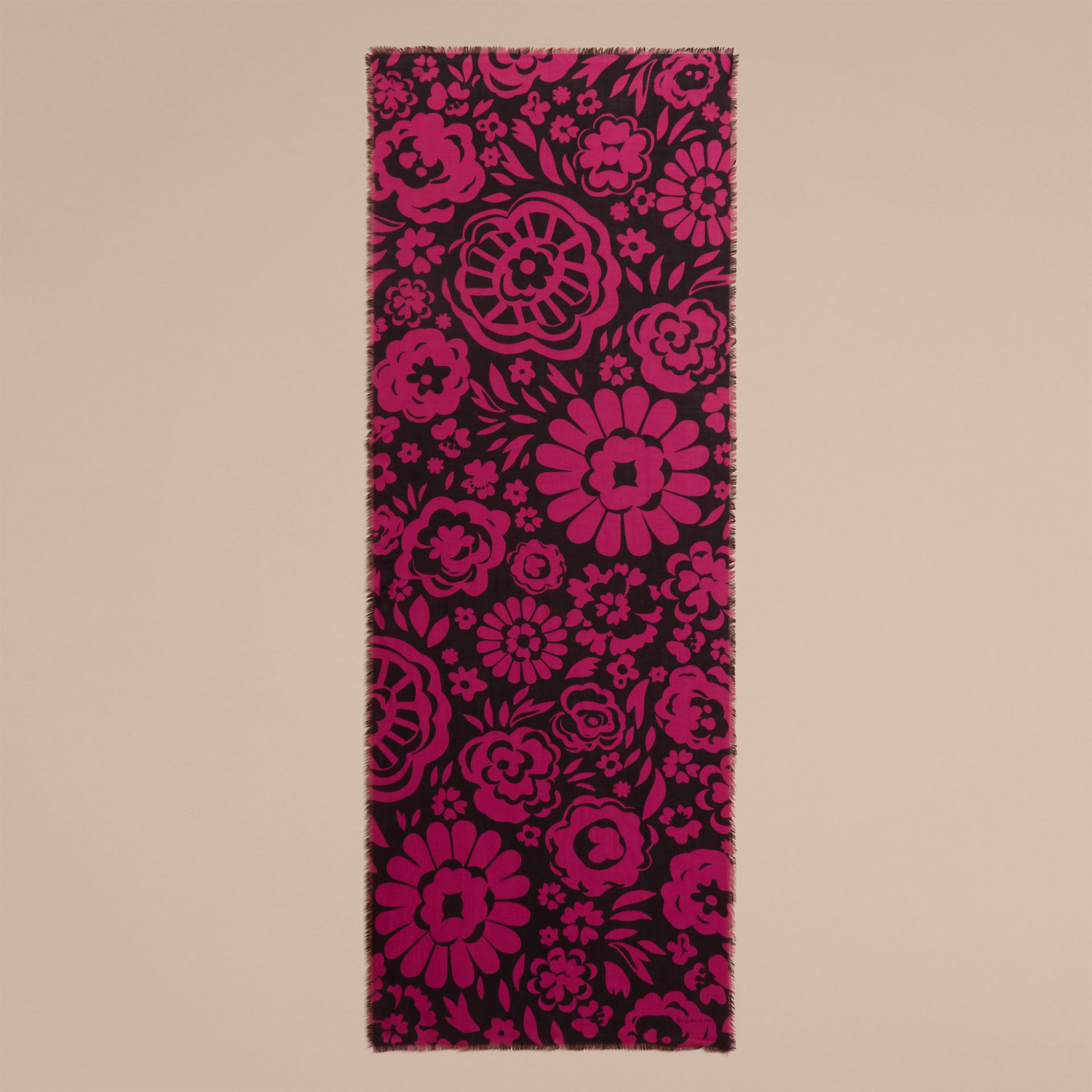 Black/fuchsia Graphic Floral Cashmere Scarf - gallery image 5