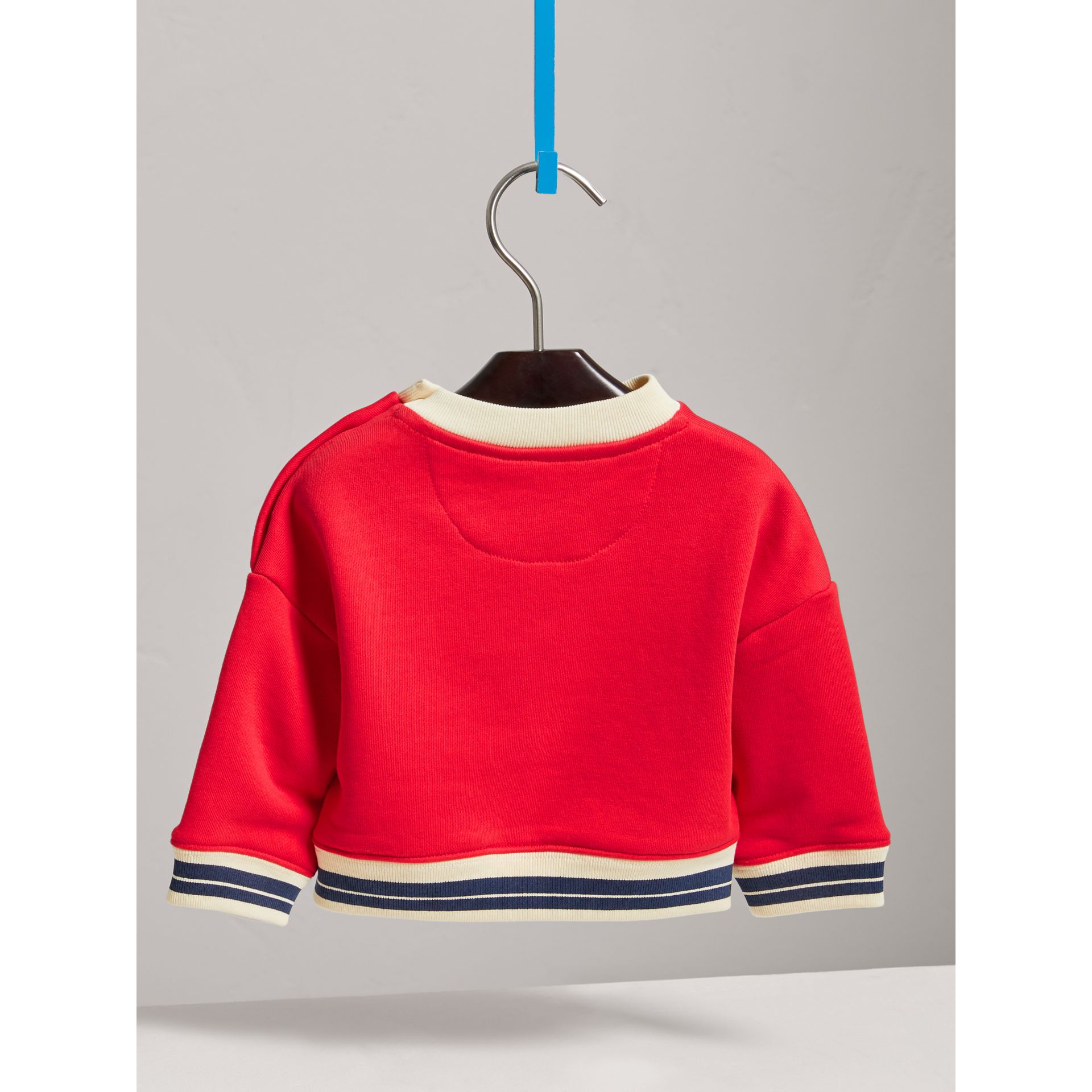 Contrast Stripe Embroidered Cotton Sweatshirt in Bright Orange Red | Burberry - gallery image 3