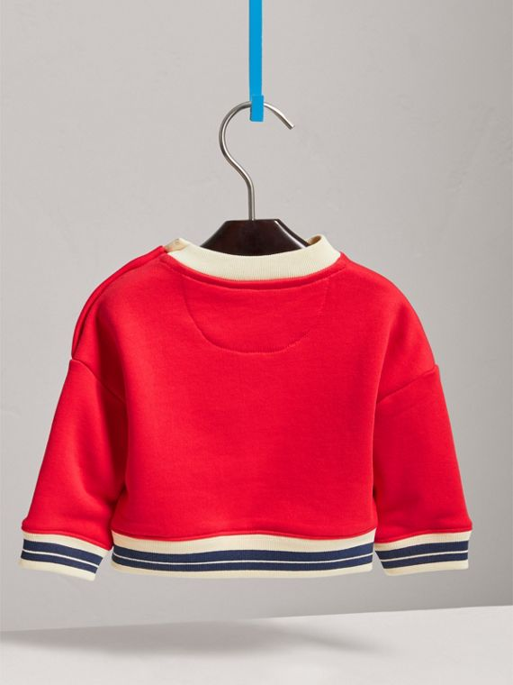 Contrast Stripe Embroidered Cotton Sweatshirt in Bright Orange Red | Burberry - cell image 3