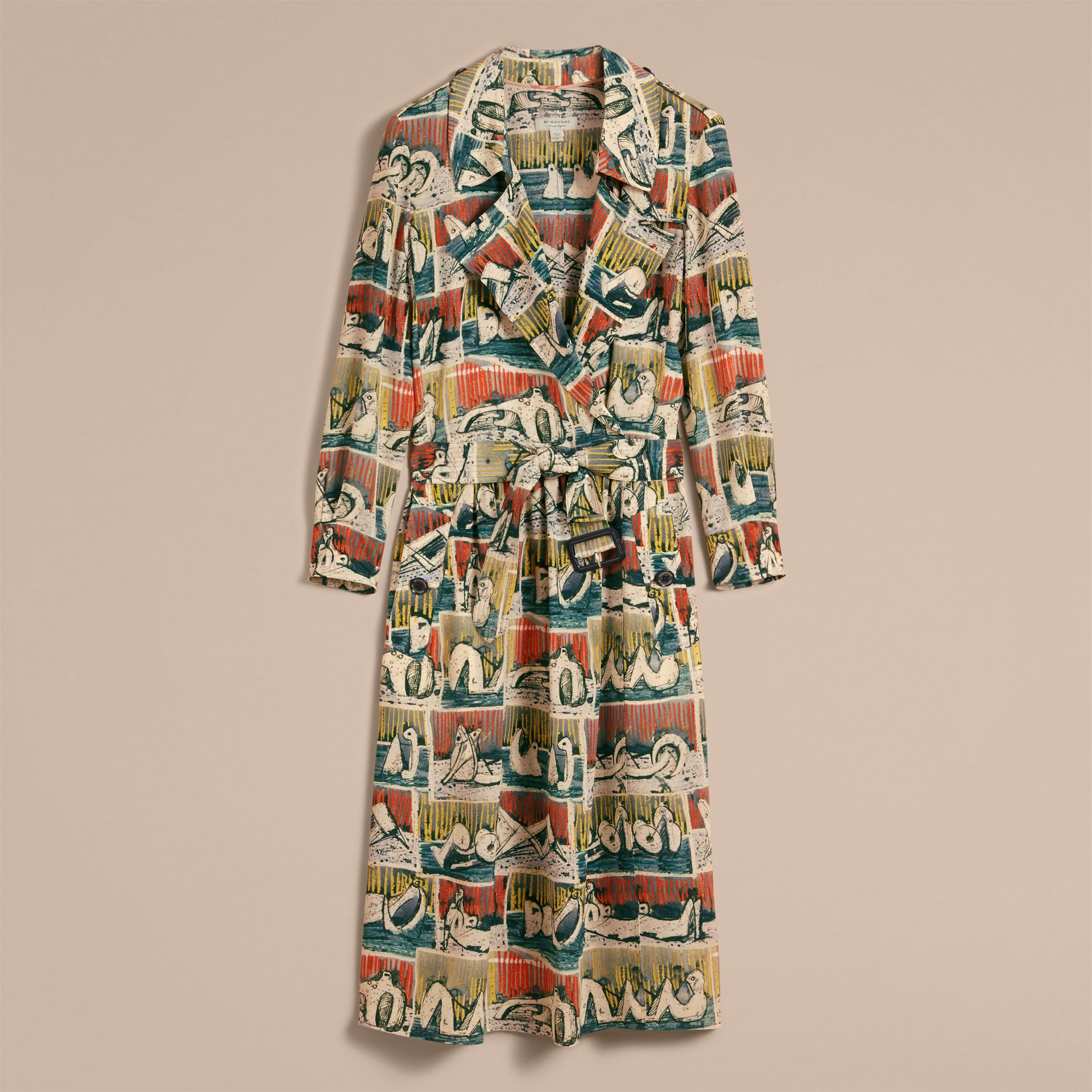 Silk Wrap Trench Dress with Reclining Figures Print in Stone Blue - Women | Burberry - gallery image 3