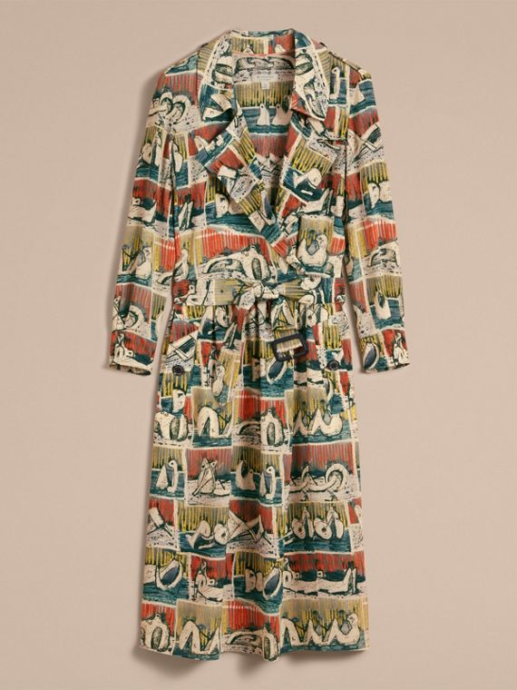 Silk Wrap Trench Dress with Reclining Figures Print in Stone Blue - Women | Burberry - cell image 3