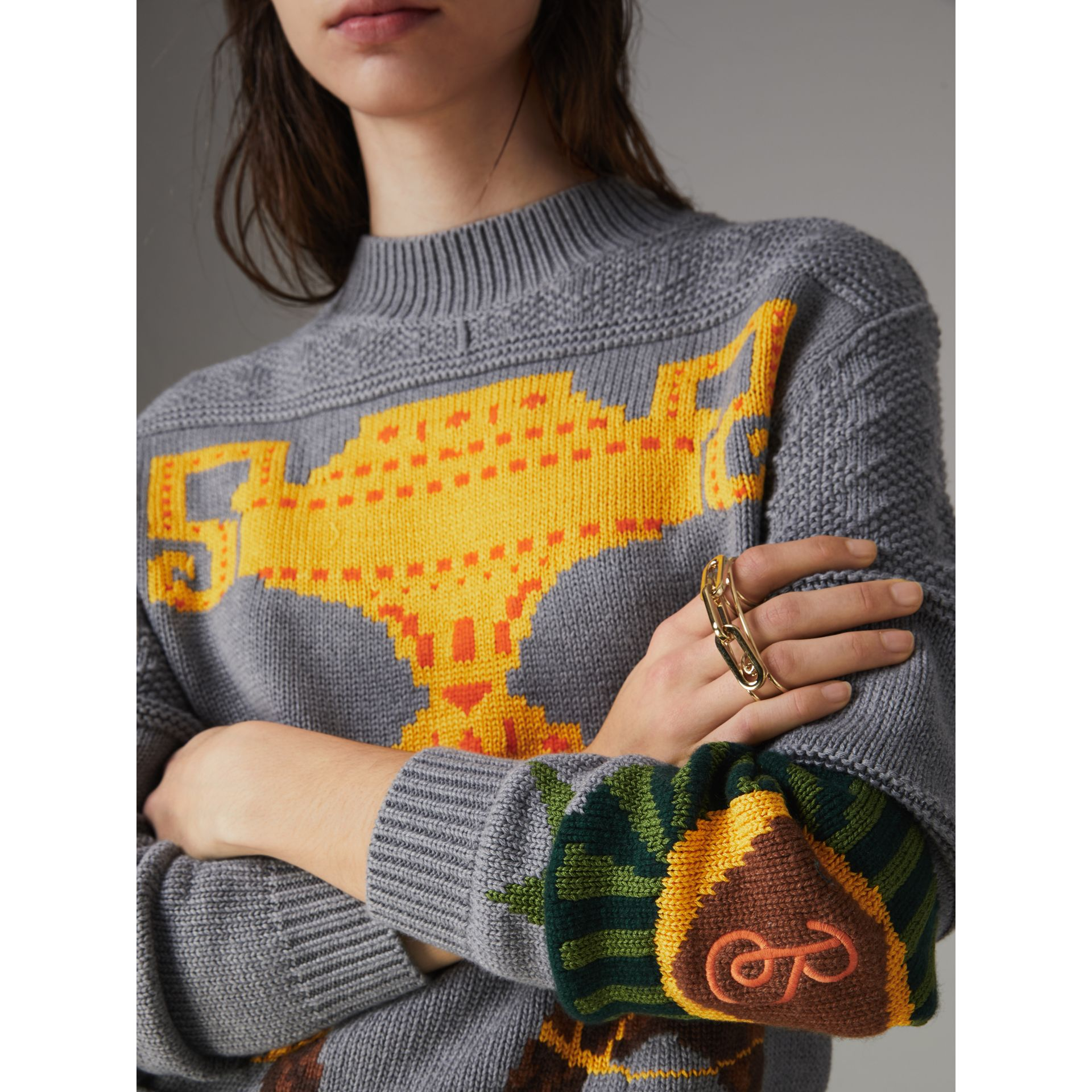 Equestrian Intarsia Cotton Wool Sweater in Grey Melange - Women | Burberry Canada - gallery image 1