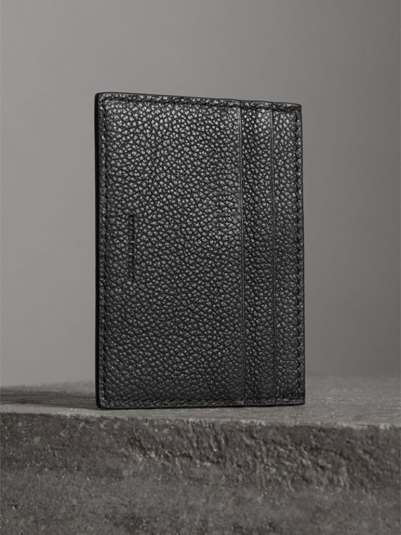 Grainy Leather Card Case in Black | Burberry - cell image 2