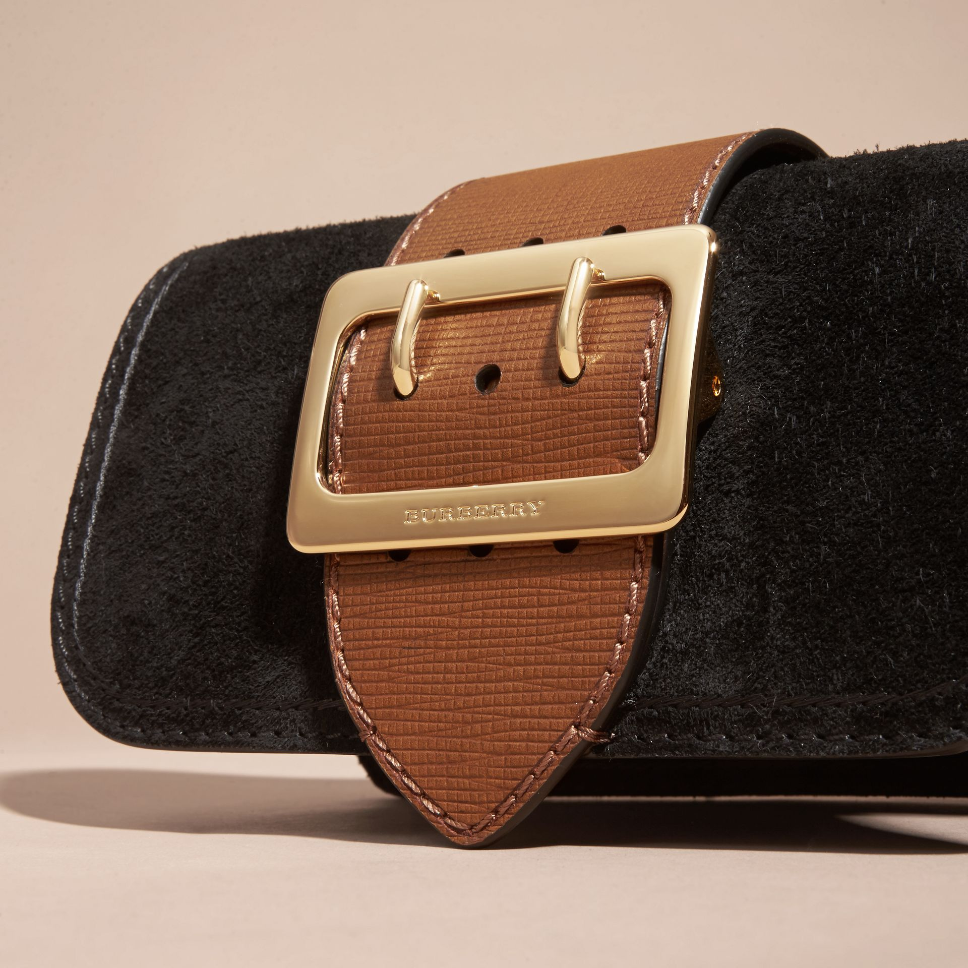The Small Buckle Bag in Suede with Topstitching in Black / Tan - gallery image 2