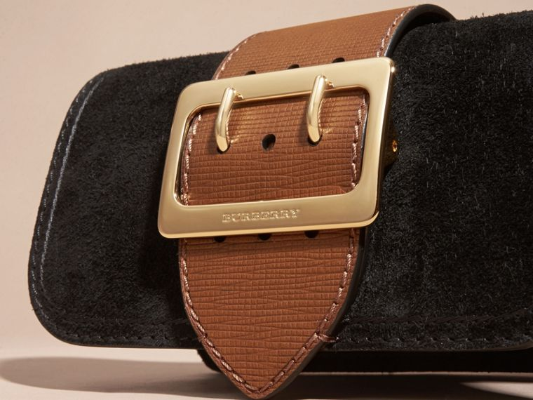 The Small Buckle Bag in Suede with Topstitching Black / Tan - cell image 1