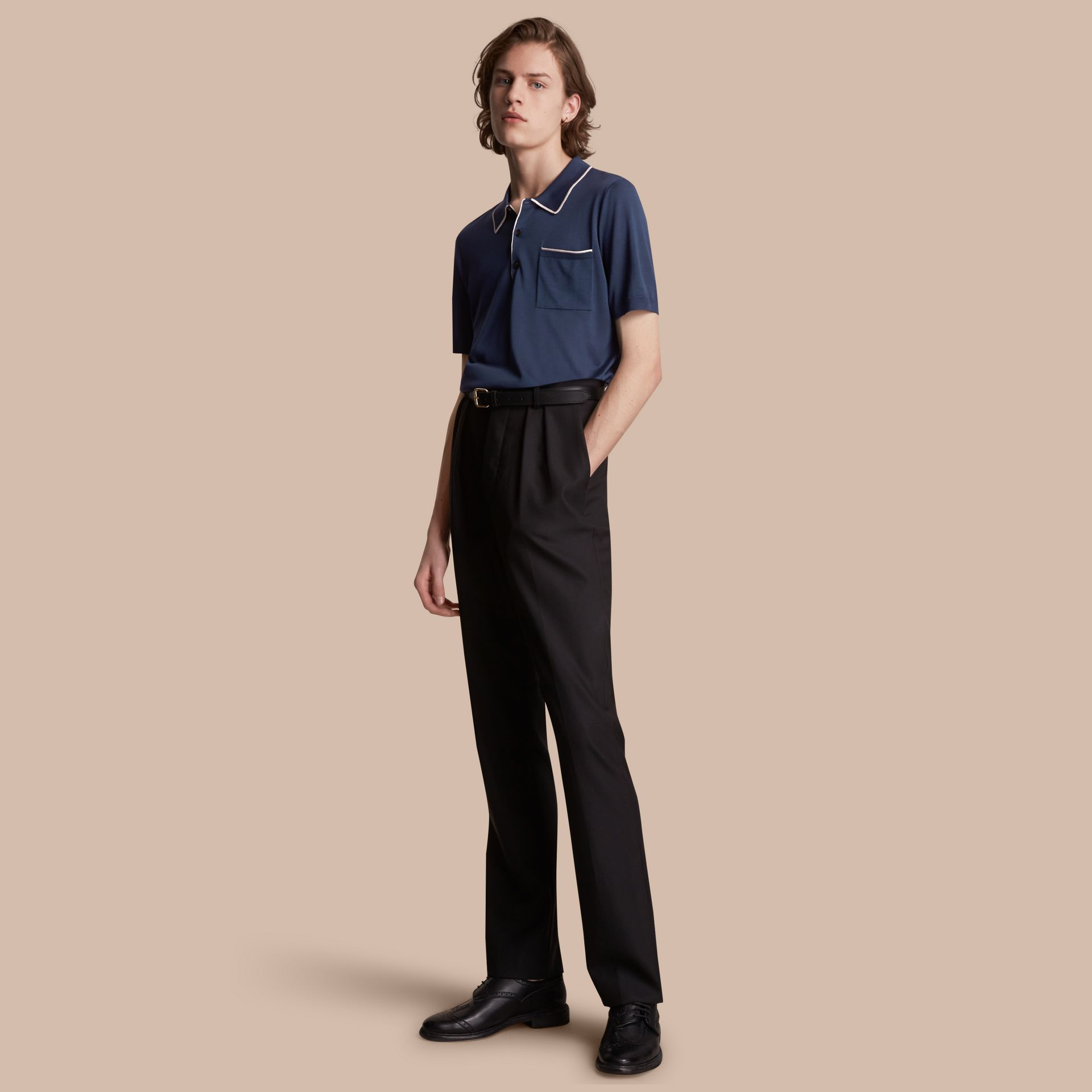 Tipped Detail Knitted Silk Polo Shirt - gallery image 1