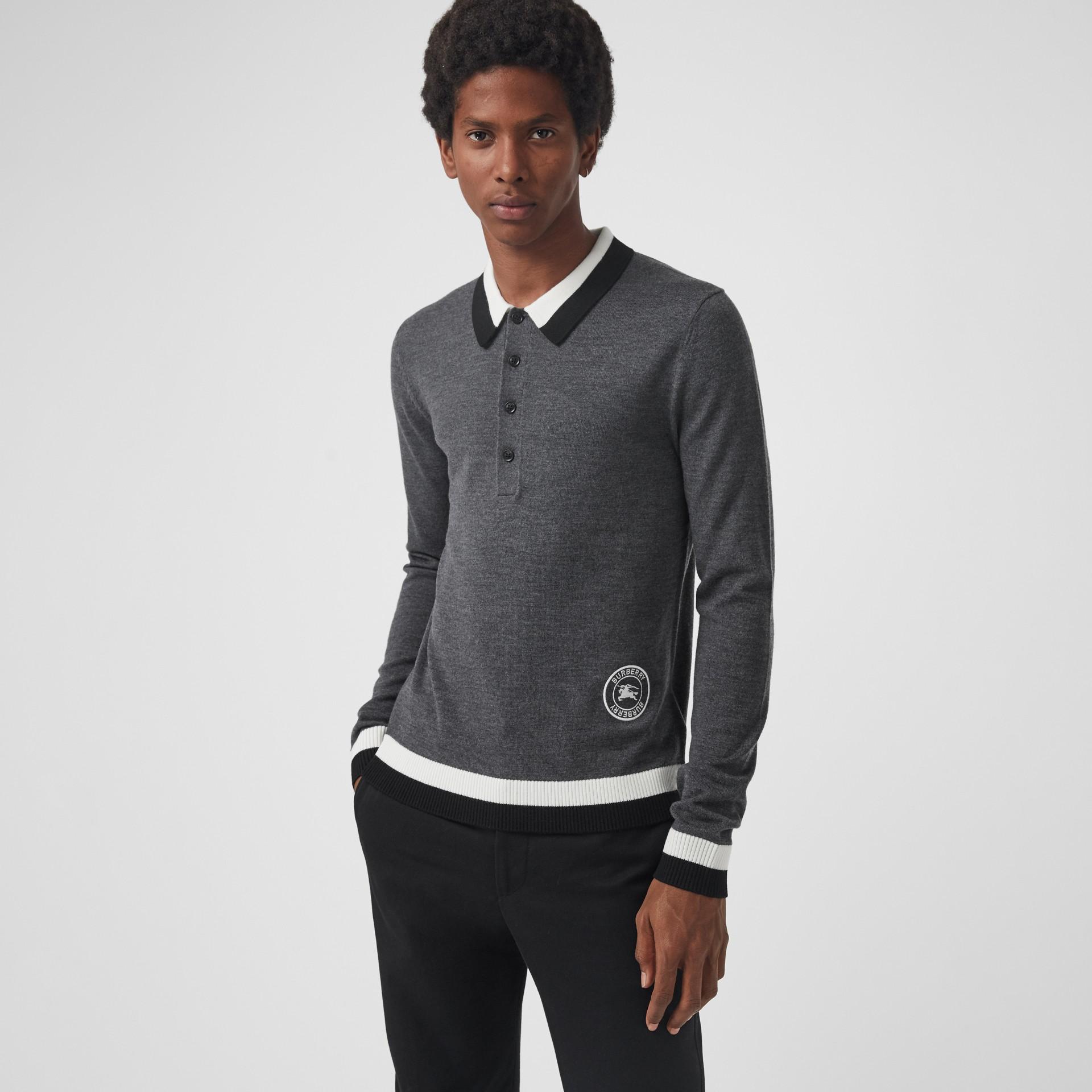 Stripe Detail Merino Wool Long-sleeve Polo Shirt in Dark Grey Melange - Men | Burberry - gallery image 4