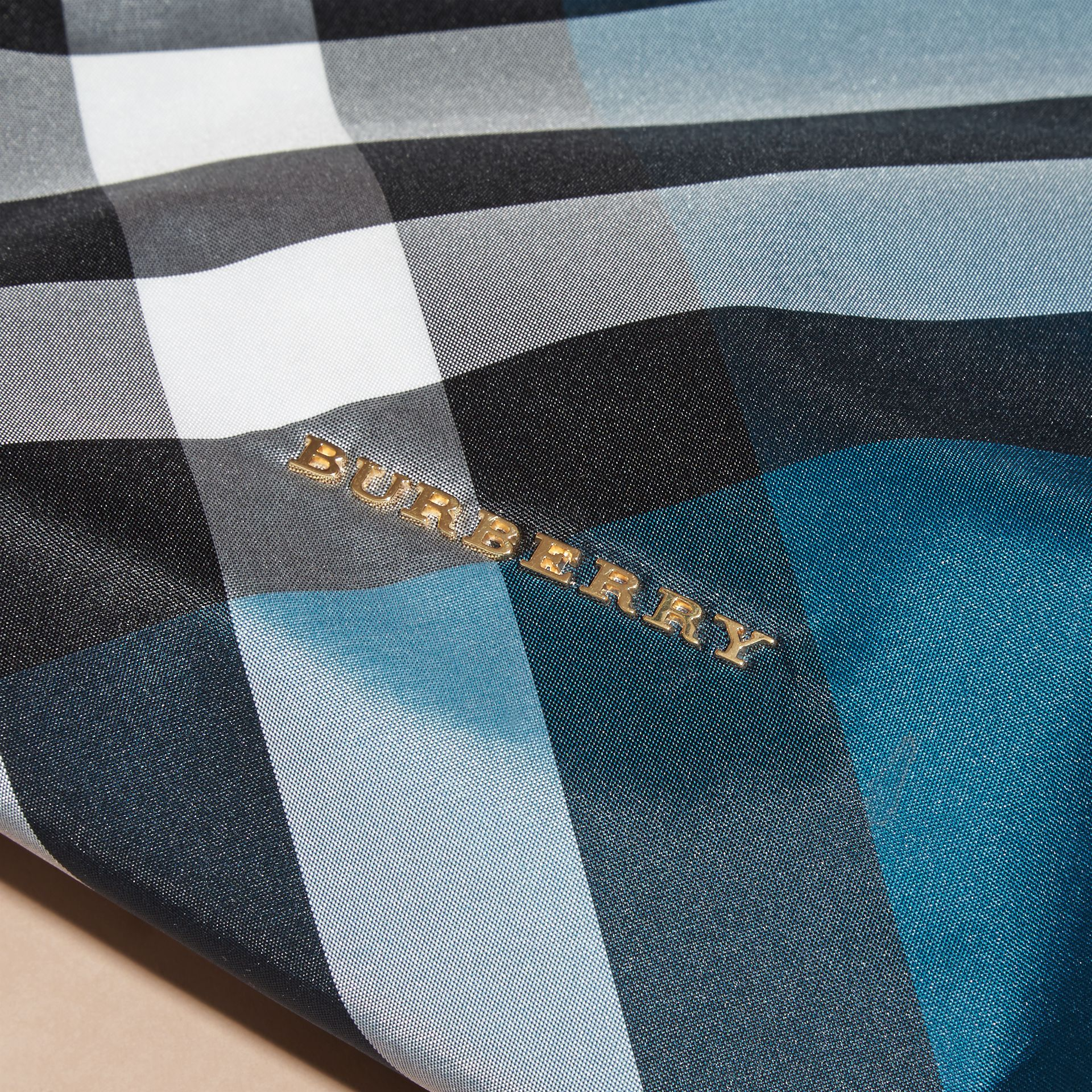 Large Zip-top Check Pouch in Marine Blue - Women | Burberry Australia - gallery image 2