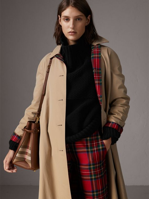 The Medium Banner in Leather and House Check in Tan - Women | Burberry United Kingdom - cell image 3