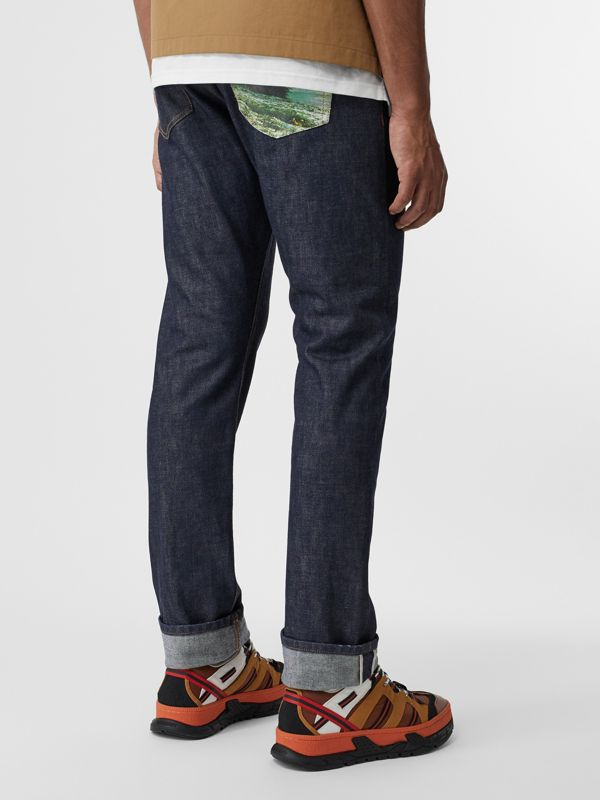 Straight Fit Japanese Selvedge Denim Jeans in Mid Indigo - Men | Burberry United States - cell image 2