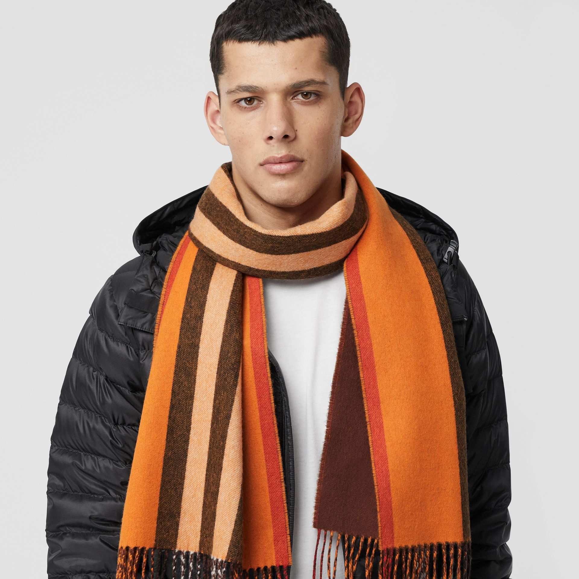 Reversible Icon Stripe Cashmere Scarf in Orange | Burberry - gallery image 3