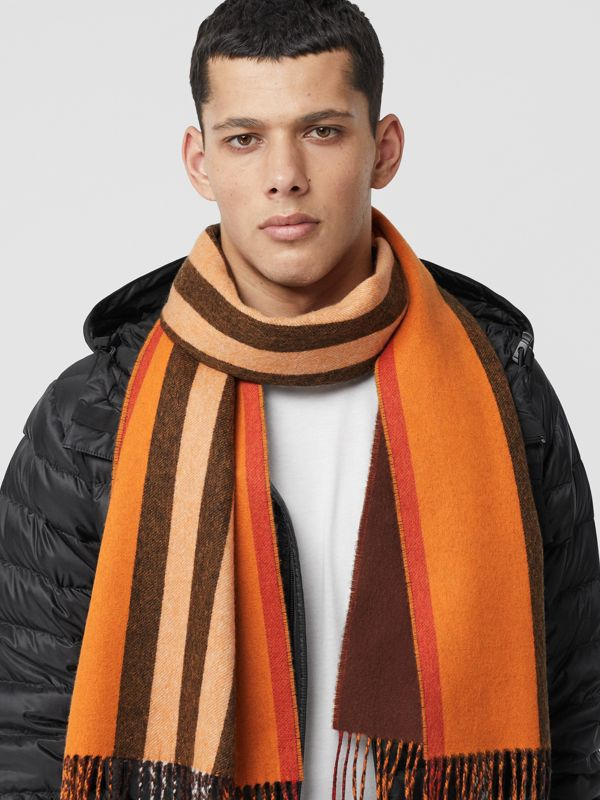 Reversible Icon Stripe Cashmere Scarf in Orange | Burberry - cell image 3