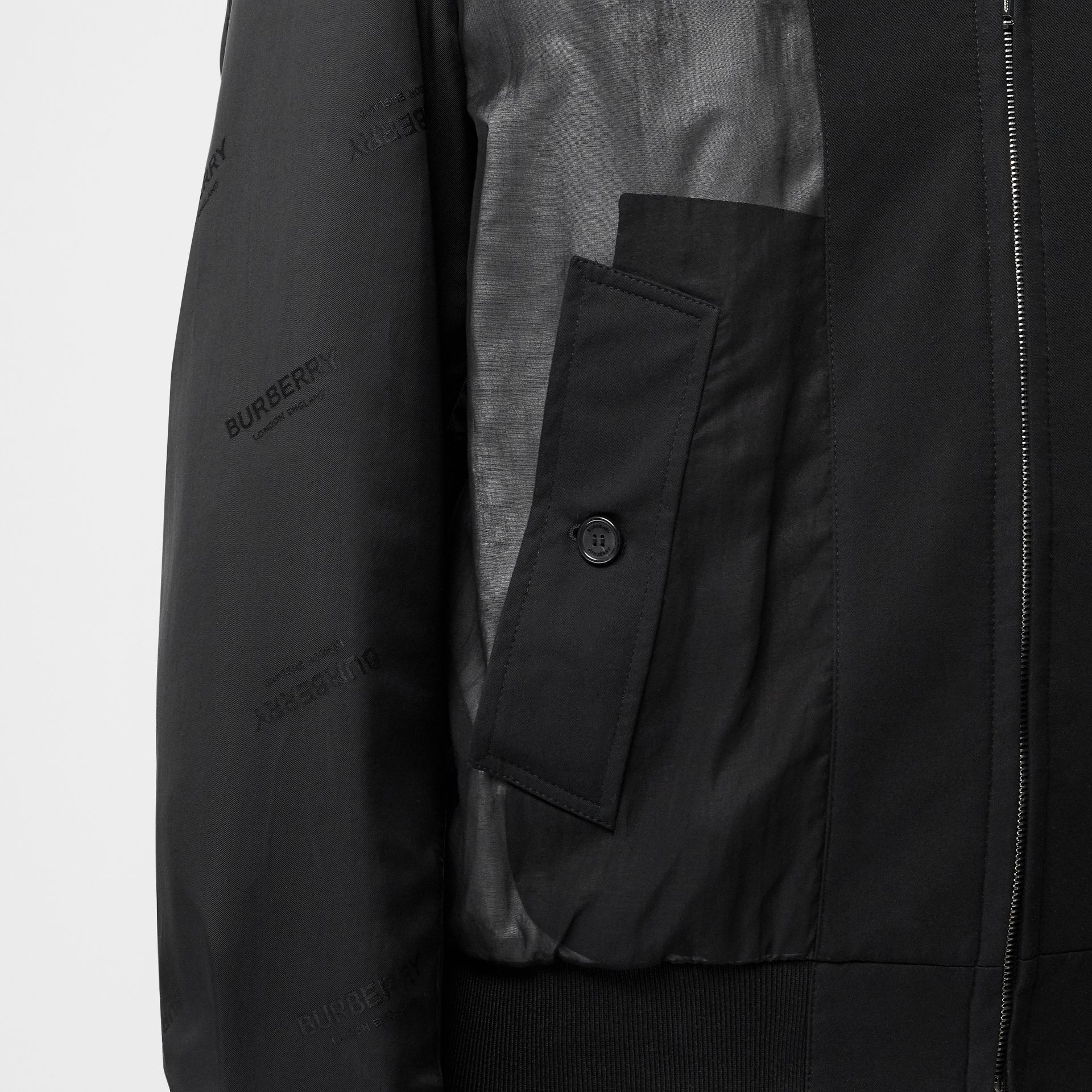 Logo Detail Panelled Cotton Blouson in Black - Men | Burberry - gallery image 4