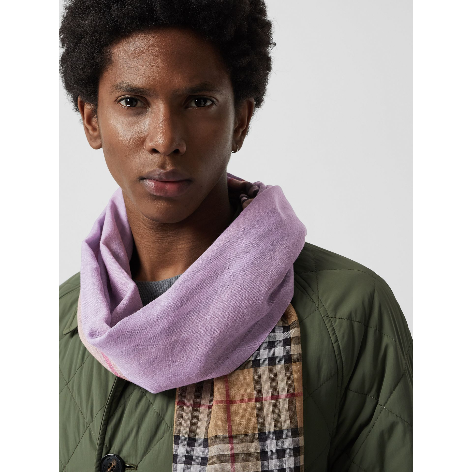 Vintage Check Colour Block Wool Silk Scarf in Lilac | Burberry - gallery image 6