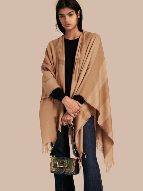 Lightweight Check Cashmere Poncho in Camel