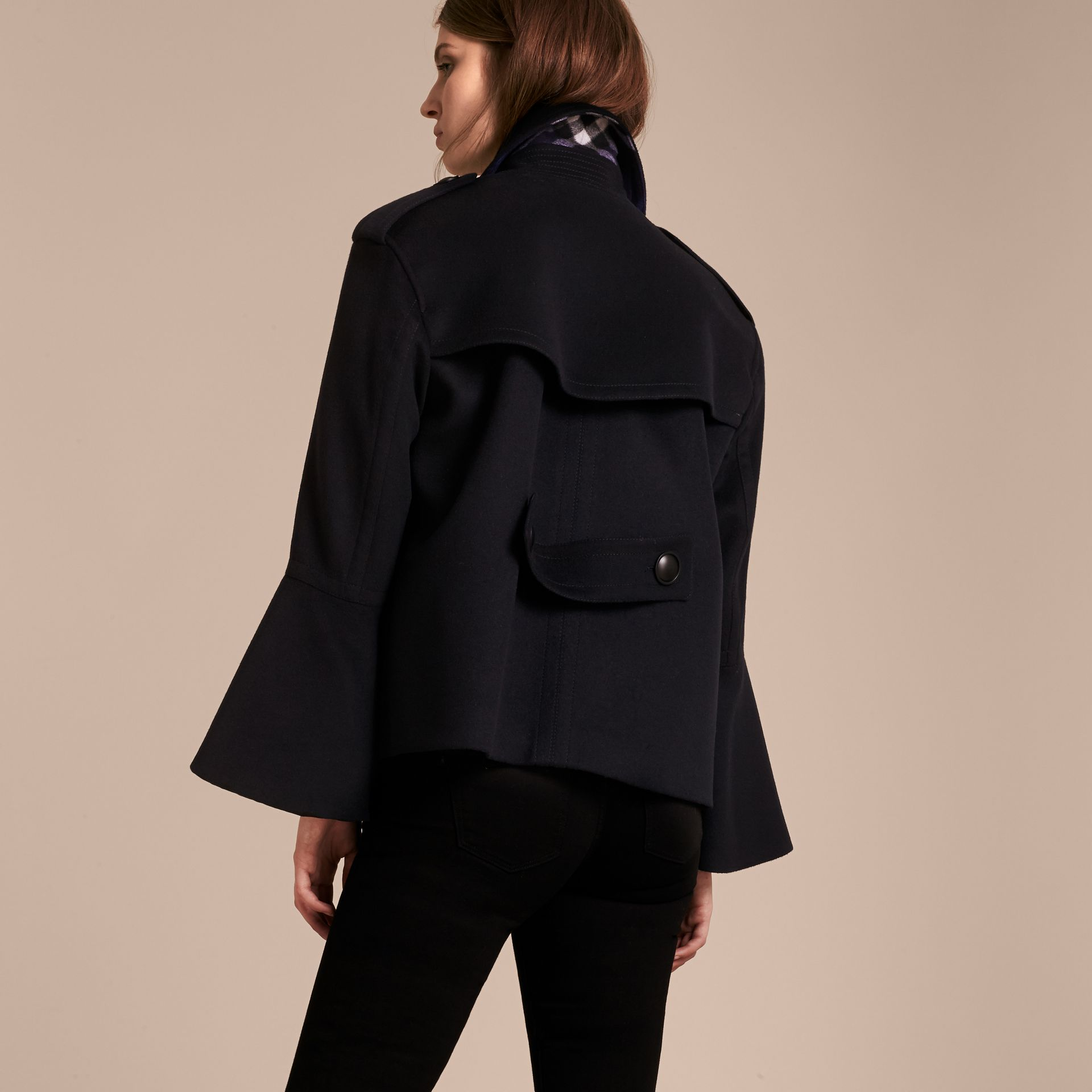 Wool Cashmere Pea Coat with Bell Sleeves - gallery image 3