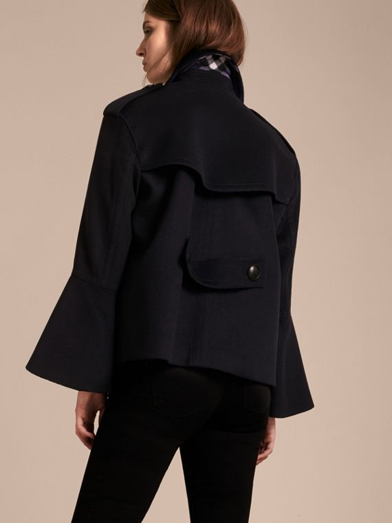 Wool Cashmere Pea Coat with Bell Sleeves - cell image 2