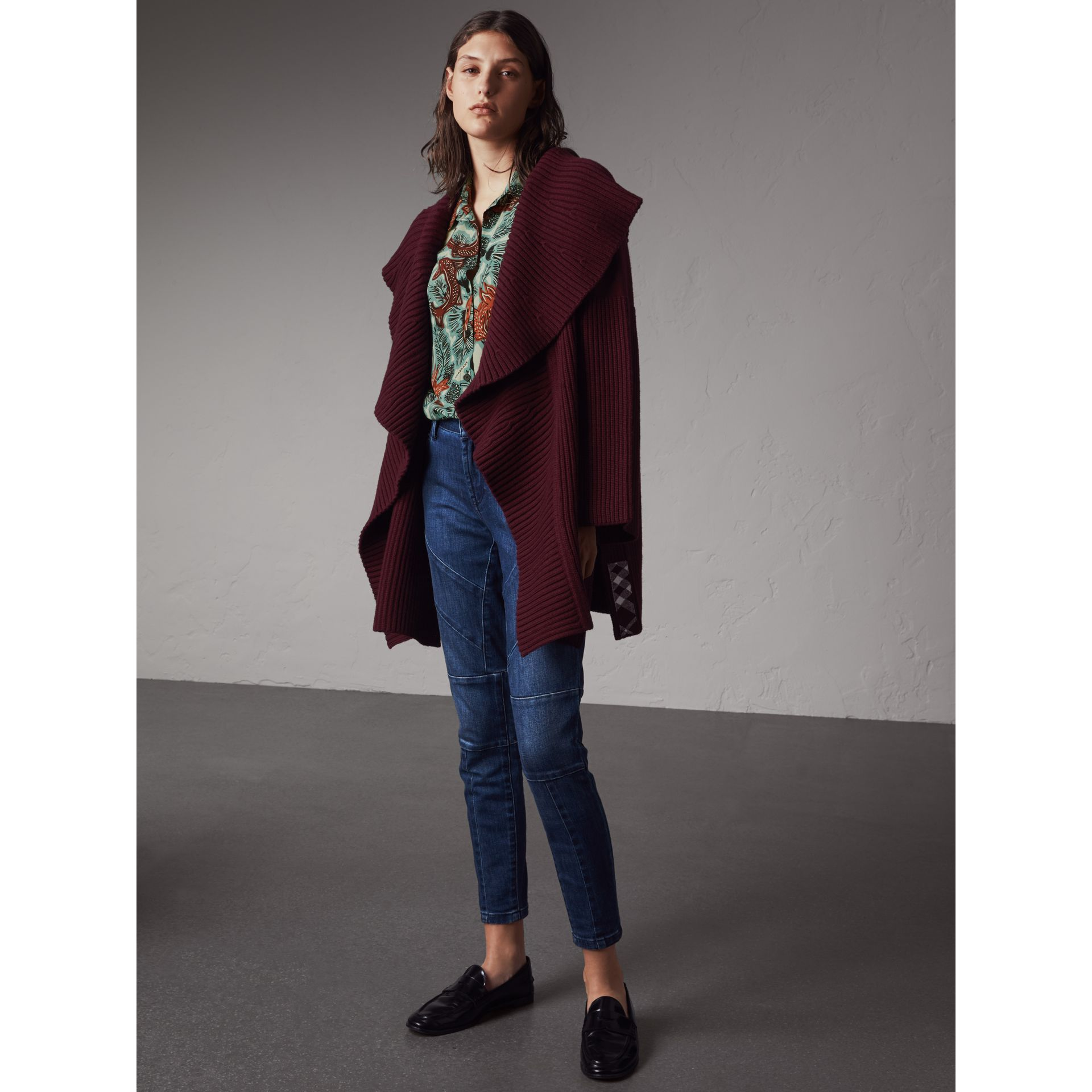 Ribbed Wool Cashmere Cardigan Coat in Burgundy - Women | Burberry - gallery image 4