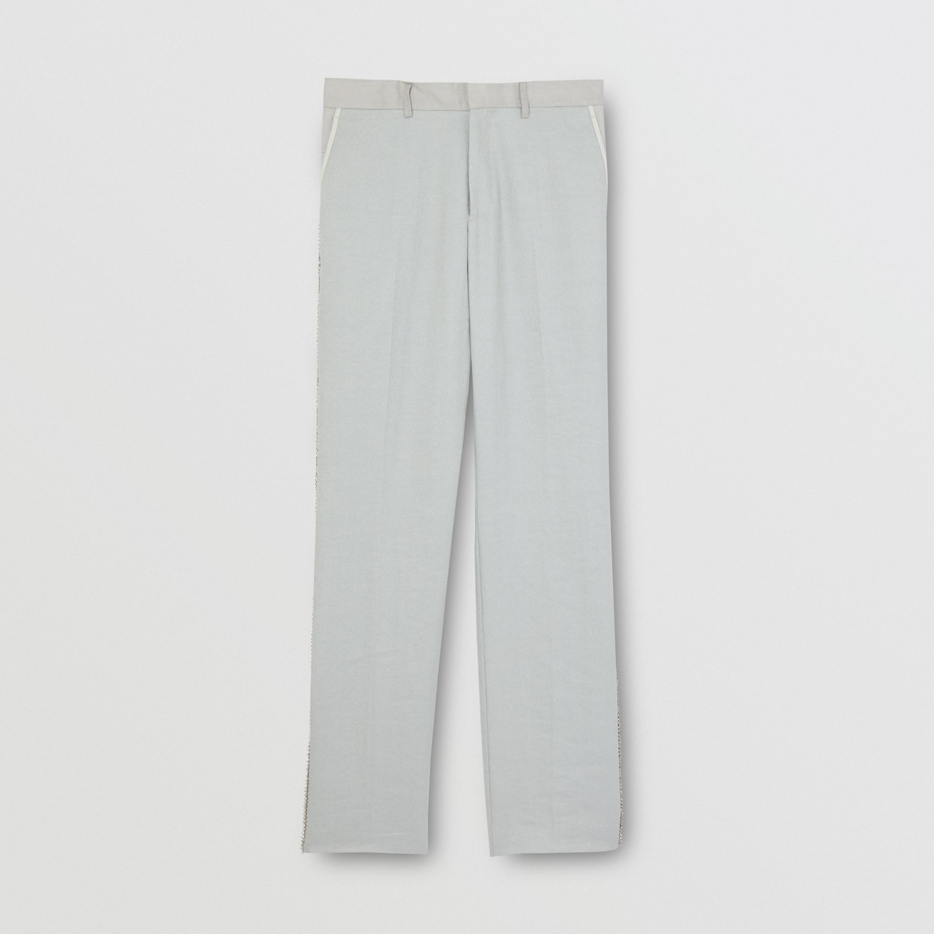 English Fit Crystal Embroidered Technical Linen Trousers in Light Pebble Grey | Burberry United Kingdom - gallery image 3
