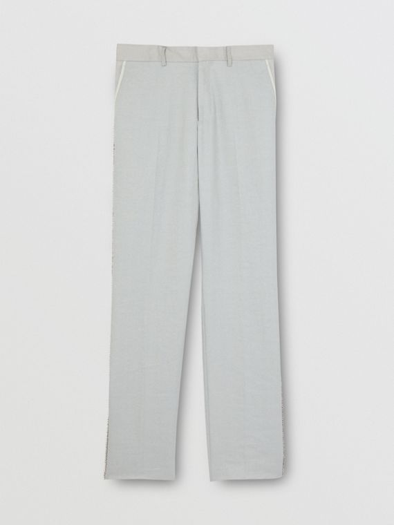 English Fit Crystal Embroidered Technical Linen Trousers in Light Pebble Grey