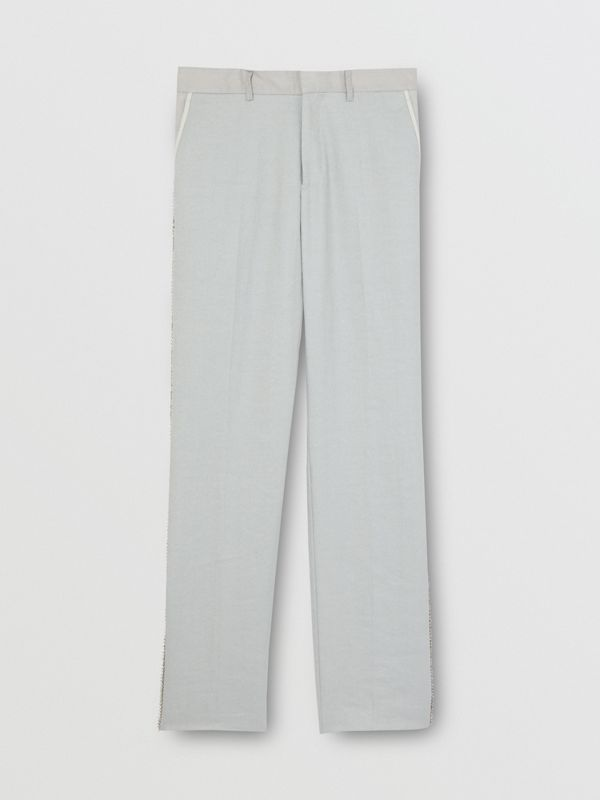 English Fit Crystal Embroidered Technical Linen Trousers in Light Pebble Grey | Burberry United Kingdom - cell image 3
