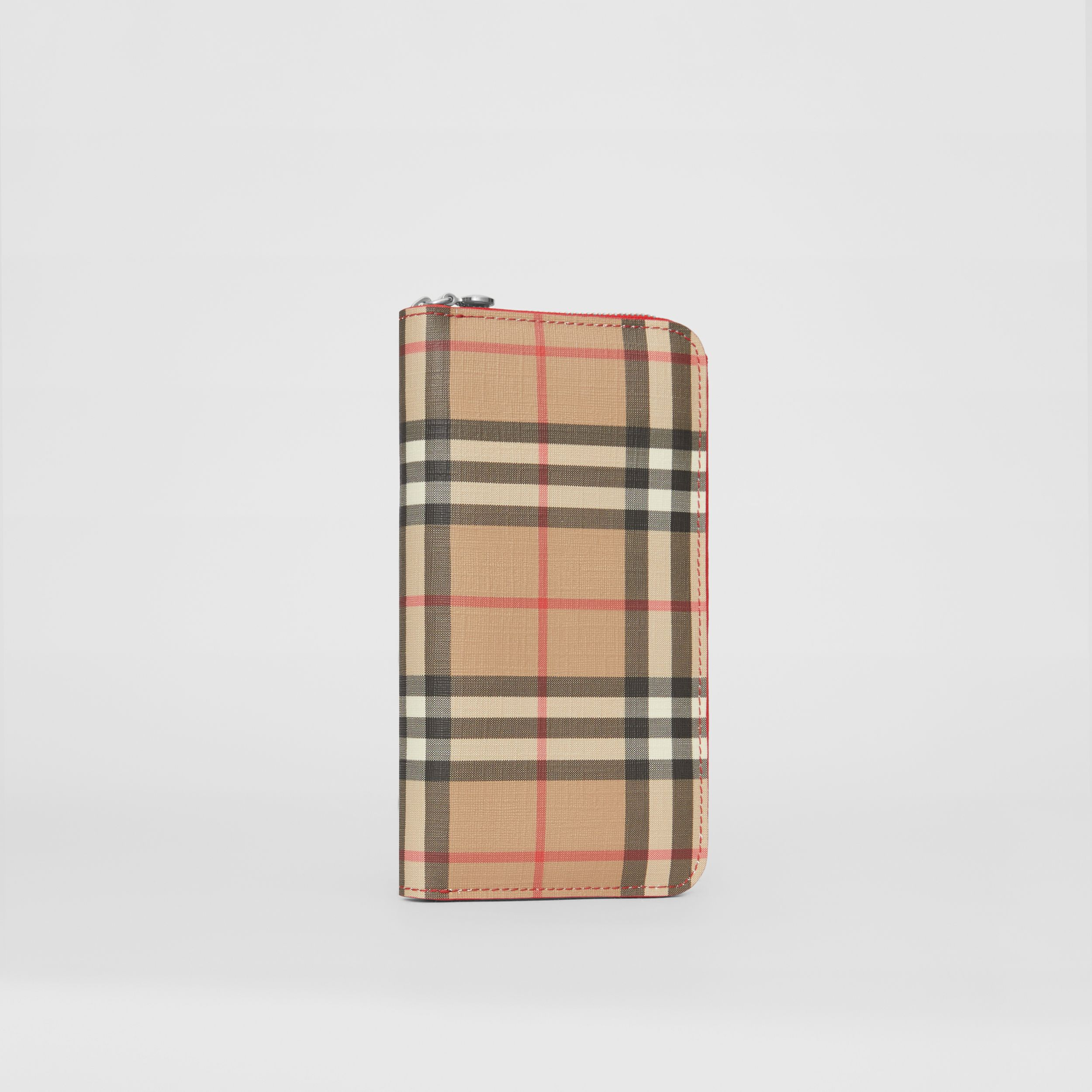 Vintage Check and Leather Ziparound Wallet in Bright Military Red - Women | Burberry Singapore - 4