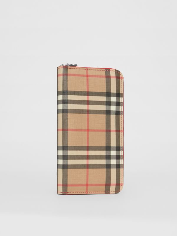 Vintage Check and Leather Ziparound Wallet in Bright Military Red - Women | Burberry - cell image 3