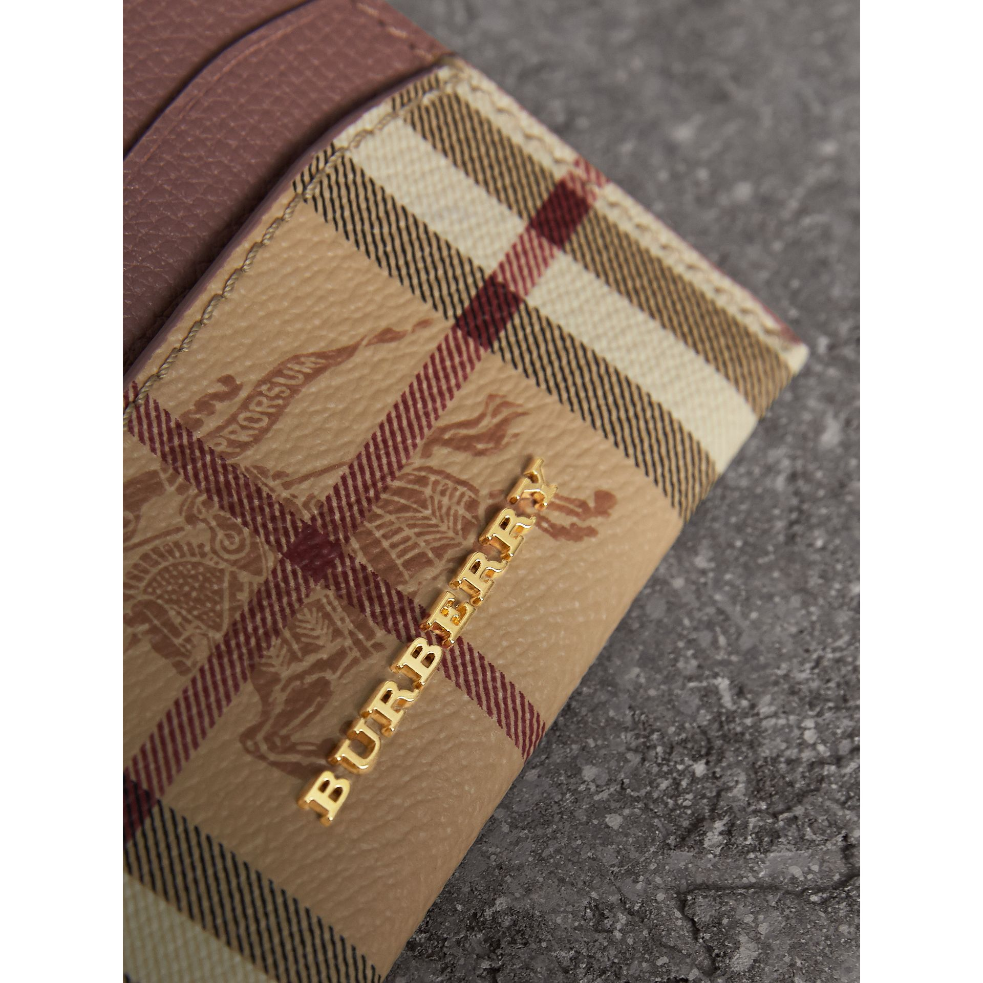 Haymarket Check and Leather Card Case in Light Elderberry - Women | Burberry Hong Kong - gallery image 1