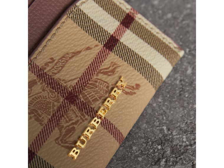 Haymarket Check and Leather Card Case in Light Elderberry - Women | Burberry - cell image 1