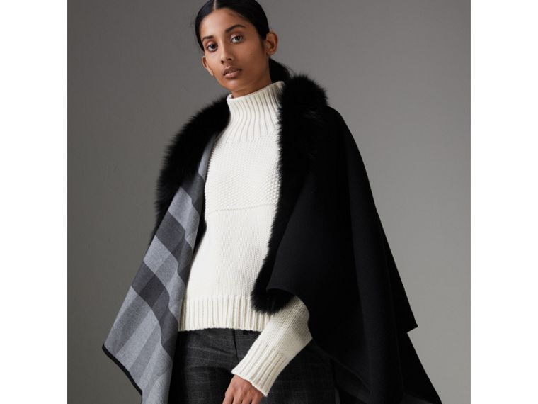 Fur-trimmed Merino Wool Poncho in Charcoal - Women | Burberry - cell image 4