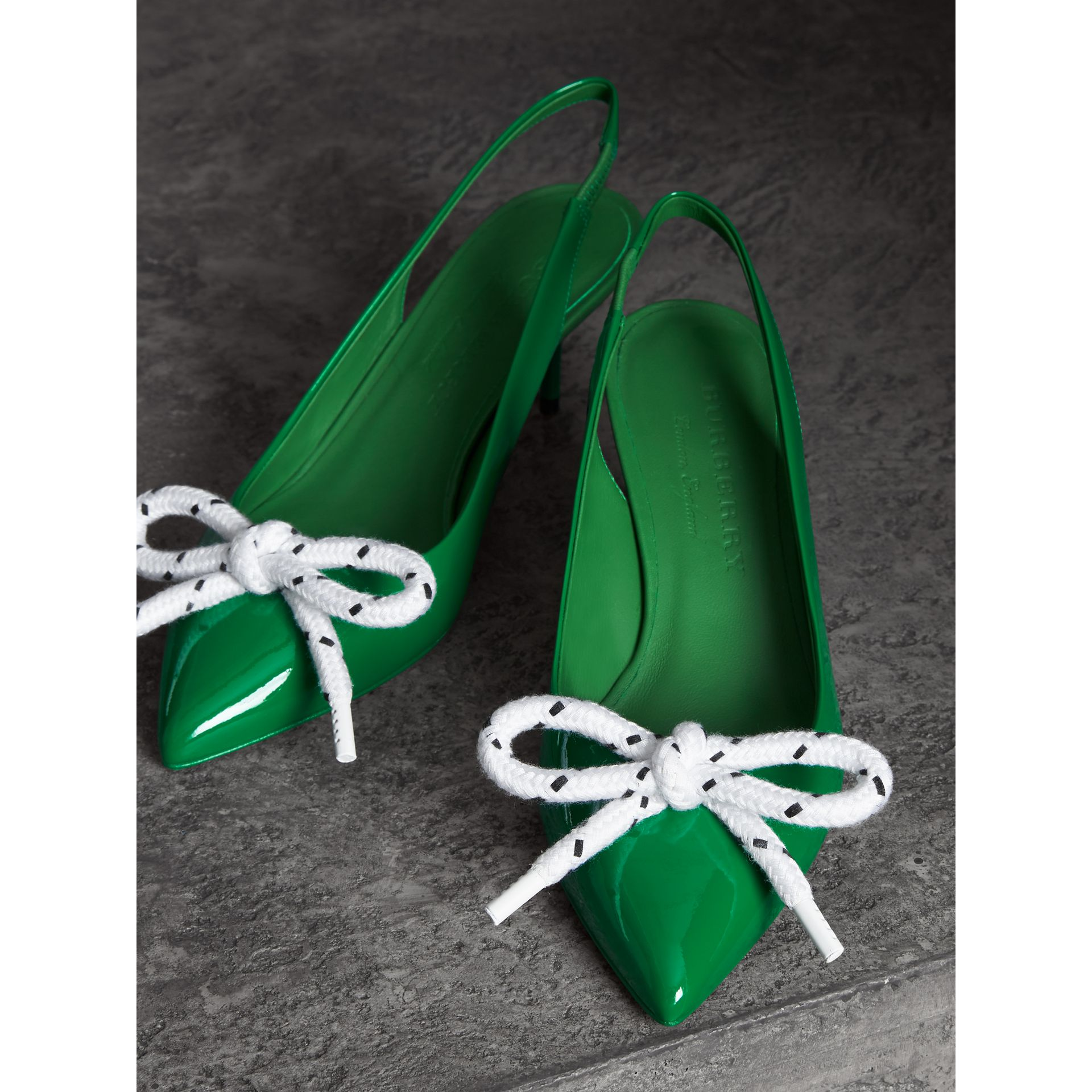 Rope Detail Patent Leather Slingback Pumps in Bright Pigment Green - Women | Burberry - gallery image 3