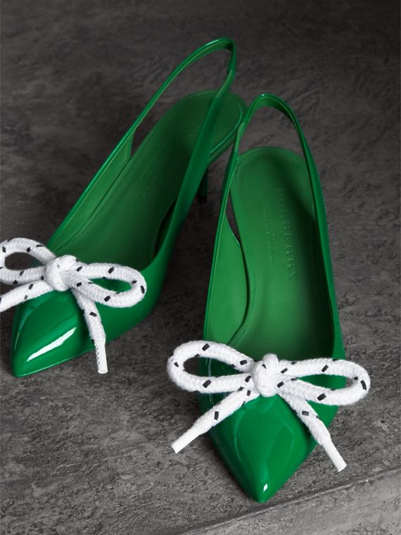 Rope Detail Patent Leather Slingback Pumps in Bright Pigment Green - Women | Burberry Australia - cell image 3