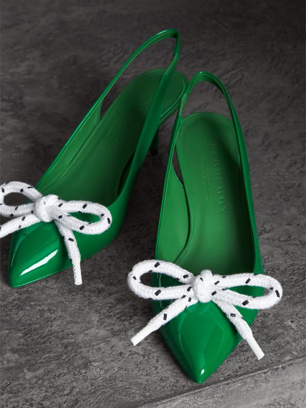 Rope Detail Patent Leather Slingback Pumps in Bright Pigment Green - Women | Burberry - cell image 3