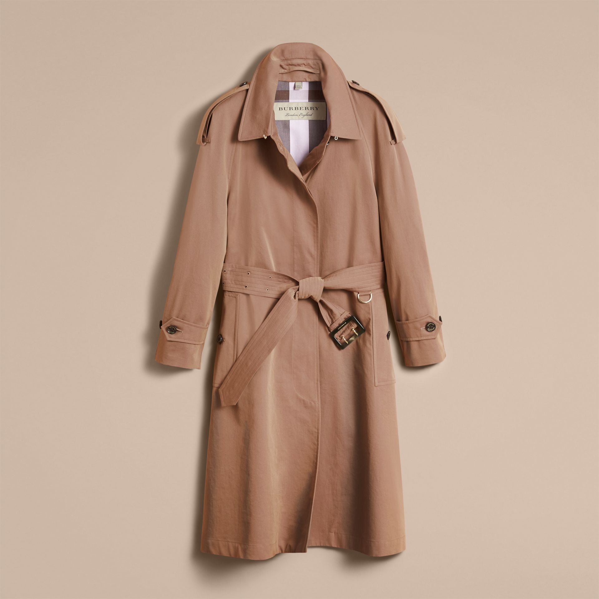 Taupe Tropical Gabardine Trench Coat - gallery image 4