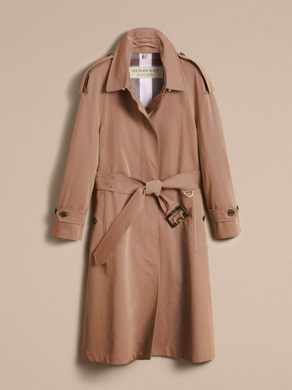 Taupe Tropical Gabardine Trench Coat - cell image 3