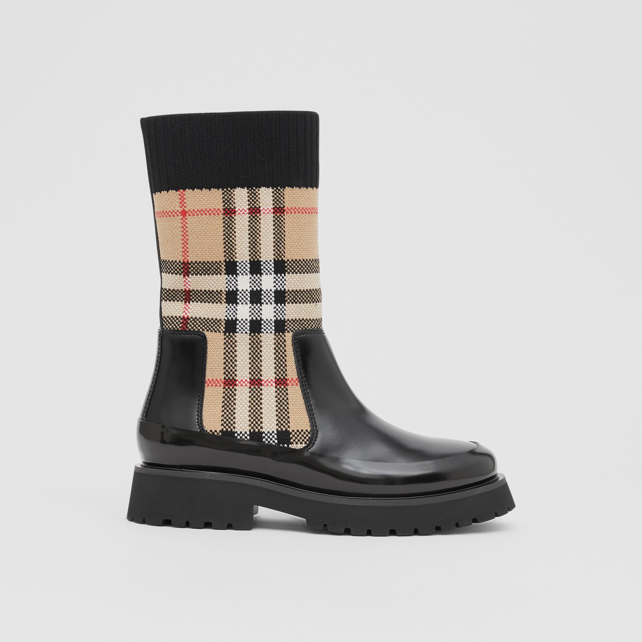 Vintage Check Knit Sock Leather Chelsea Boots in Archive Beige - Children | Burberry - 4