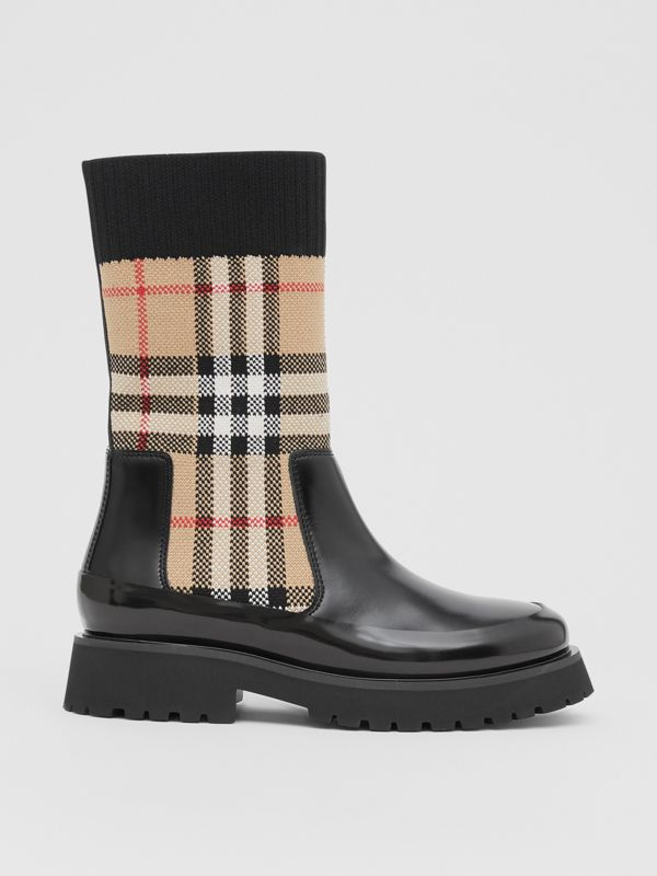 Vintage Check Knit Sock Leather Chelsea Boots in Archive Beige - Children | Burberry - cell image 3