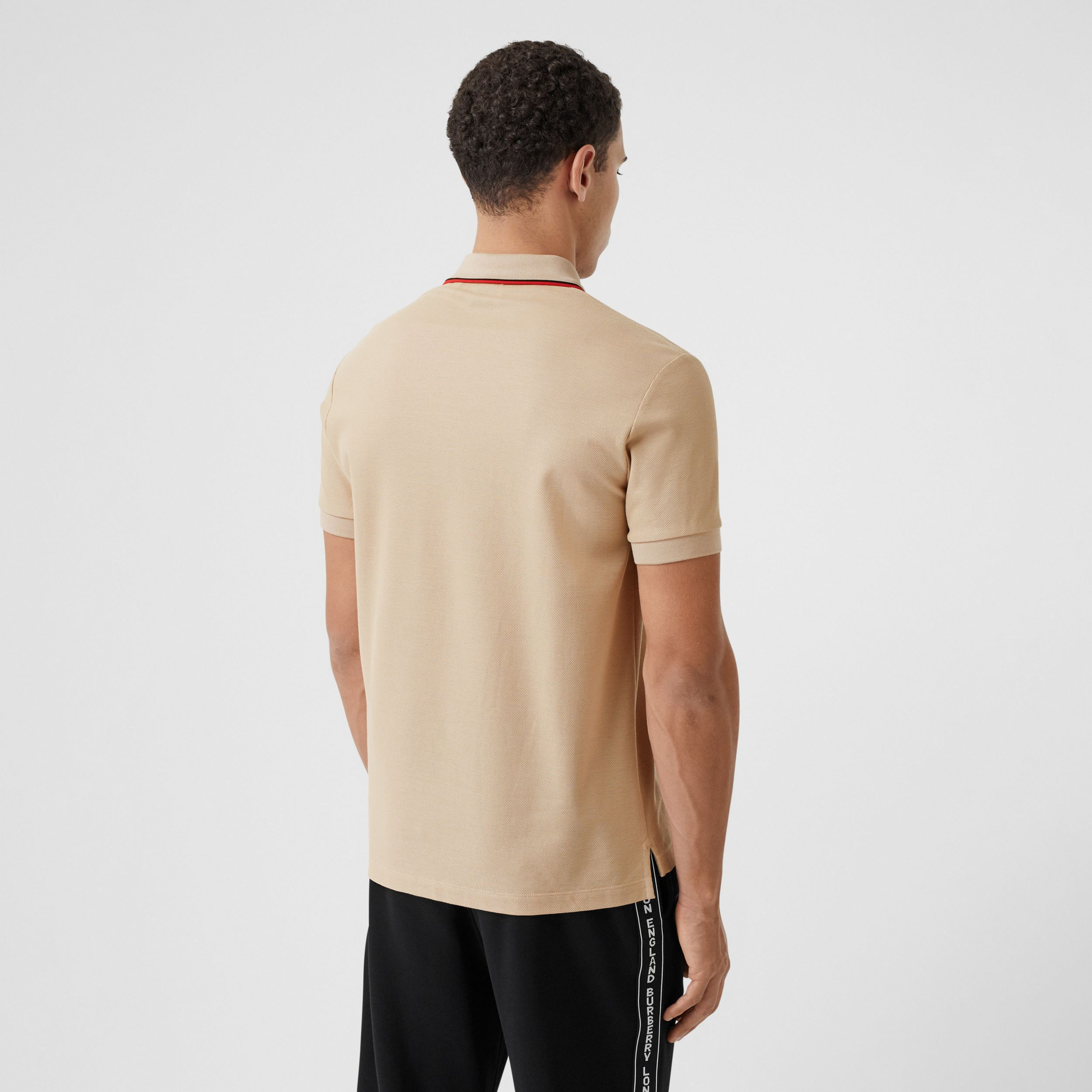 Monogram Motif Cotton Piqué Polo Shirt in Soft Fawn - Men | Burberry - 3