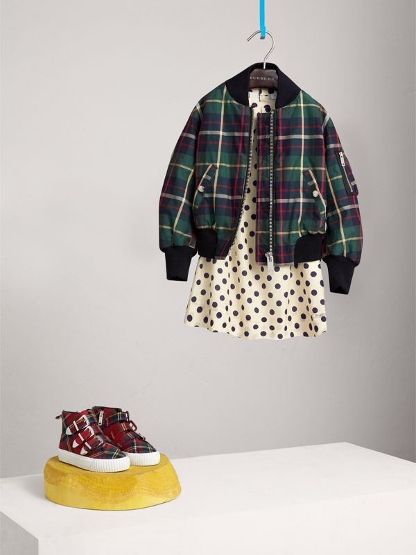 Tartan Cotton Bomber Jacket in Racing Green | Burberry - cell image 2